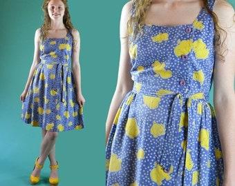 Vintage 70s Dress Whimsical Rhinoceros Print Boho SUN DRESS High Waist Full Skirt Cotton Sleeveless Summer Sun Dress S / M