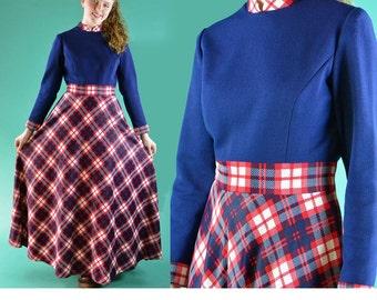 Vintage 70s Maxi Dress Bohemian Long Maxi Dress HIPPIE Festival Dress Long Sleeve Plaid 1970s Boho Maxi Dress M