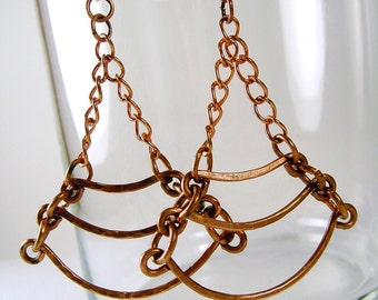 Chandelier Chain Earrings Copper Earrings Dangle Earrings Sterling Silver Earwires