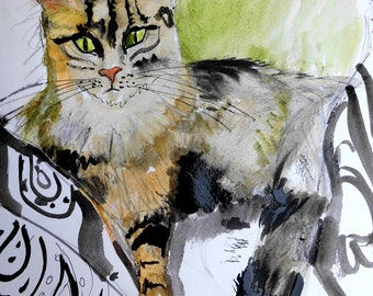 Cat Art. Beautiful Print of  a Watercolor painting of a Long Haired Tortoiseshell  Cat by Irish Artist Ros Webb