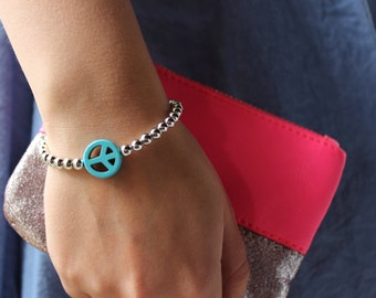Turquoise Peace Sign Silver Beaded Hippie Bracelet.