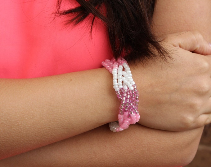 Pink and White Braided Beaded Bracelet.