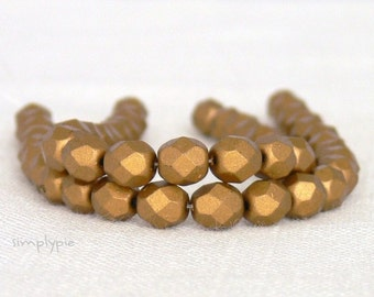 Matte Metallic Goldenrod, Czech Beads Fire Polished 6mm 25 Faceted Round GLass