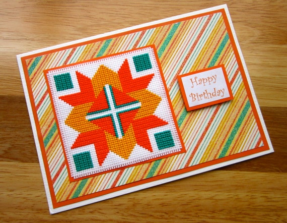 Happy Birthday Handmade Cross Stitch Card Amish Quilt Block
