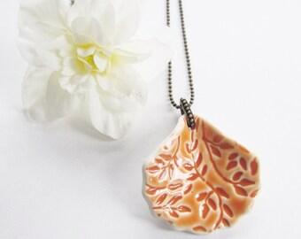 Unique Stoneware Pendant, Ceramic Imprinted Necklace, Burnt Orange Pottery Pendant