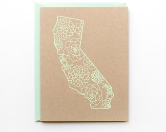 California Card - Succulents - Screen Print - A2 - original screen print - ooak - cactus - kraft - mint green - natural - rustic