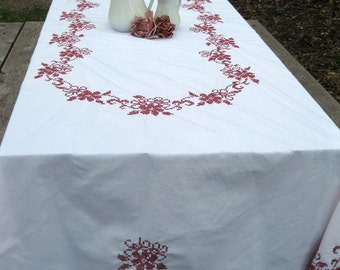 Tablecloth Large Cross Stitch Embroidered Country