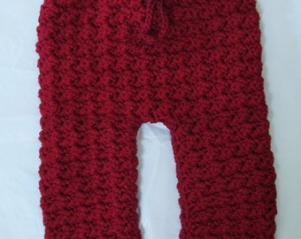 Crocheted Baby Pants, Size 6 to 9 Month, Burgundy Pants, Baby Bottoms, Red and White