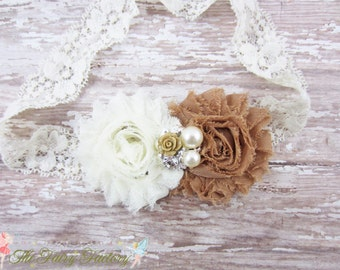 Ivory and Light Brown Flower Headband, Chiffon Flowers w/ Pearl & Rhinestone Center Lace Headband or Clip, Newborn Baby Child Girls Headband