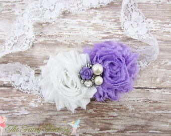 Lavender and White Flower Headband, Chiffon Flowers w/ Pearl & Rhinestone Center Lace Headband or Clip, Newborn Baby Child Girls Headband