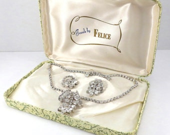 Jewels by FELICE 3 Dimensional Choker Necklace and Earrings Rhinestone Vintage 1950s Boxed Set