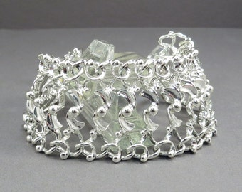 Sarah Coventry Chain Link Wide Silver Vintage 1960s Mid Century Bracelet