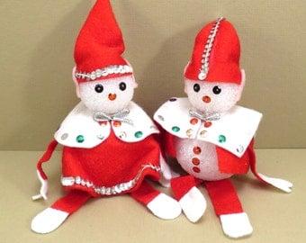 Tacky Christmas Mr and Mrs Elf Vintage 1950s Handmade Chrismas Decoration Elves
