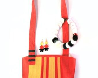 Red Yellow Karate Belt Mini Tote Eco Friendly Sustainable Fashion Structured Shoulder Bag Women Men Cotton Vegan Leather Alternative