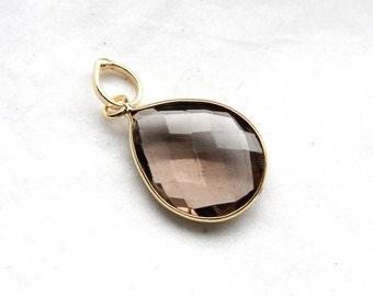 Smokey Quartz Teardrop Faceted Gemstone Pendant in 18k Gold Vermeil Setting // 15mm x 24mm