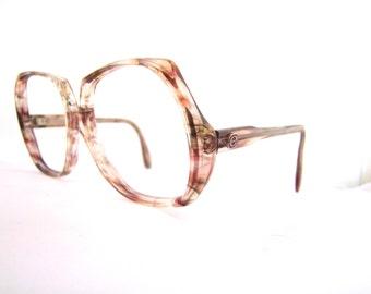 1960s Frames // 60s 70s Vintage Eyeglasses // Hollywood Glamour // Large Lens // Marble
