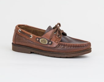 Brown Leather Boat Shoes - Vintage Deck Shoes Made in Italy - Womens US size 6.5 / Euro 37