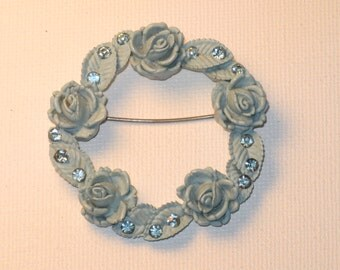 Vintage Blue Celluloid Rhinestone Floral Rose Circle Brooch Pin (B-3-7)