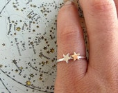 Gold and silver stackable star ring in sterling silver and brass - tiny star ring- constellation mixed metal jewelry