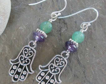 Hamsa, Amethyst and Green Aventurine Earrings - Bohemian Style, Spiritual jewelry