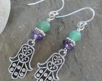 Hamsa, Amethyst and Green Aventurine Earrings - Boho/Spiritual Jewelry