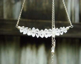 Herkimer Diamond Necklace, Herkimer Diamond Jewelry, Herkimer Raw Diamond, Rough, Natural, Rustic, Rock Quartz Crystal Jewelry, Luxe Jewels