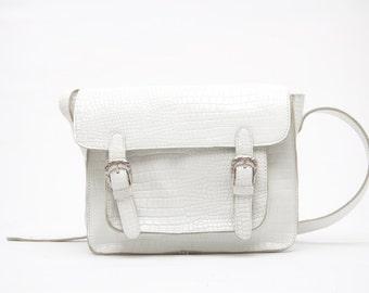 White Satchel, leather satchel, on sale