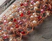 Jewelry Tutorial.  Wire Crochet with Beads, Step by Step Photos.  Pattern, Tips, How To