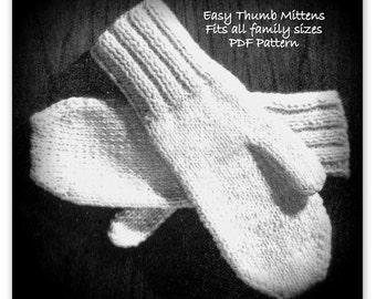 Easy Thumb Mitten Pattern - 2 NEEDLE Knitting - Palm Sizes 5 Thru 9 - PDF 0615499 - 60s Vintage