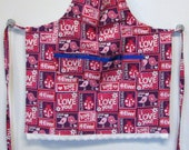 Child's Apron--Valentine's Day, Pink and Purple