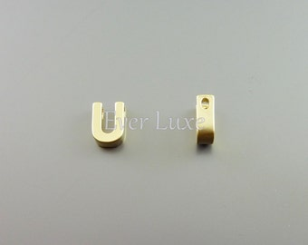 2 gold initial necklace beads, Uppercase letter U 945-MG-U
