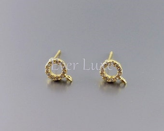 2 tiny circle CZ / Cubic Zirconia stud earrings, earrings, jewelry supplies, bridal wedding earrings 961-BG