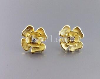 2 Pretty flower earrings with clear cubic zirconia CZ, earring supplies, bridal earrings E1782-MG (matte gold, earrings, 2 pieces)