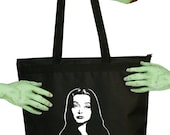 Voodoo Sugar Addams Family Morticia Addams Tribute Black Zippered Tote Bag