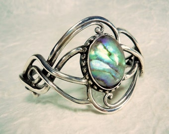 Sterling Silver and Abalone Bangle Bracelet