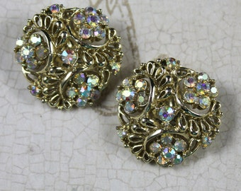 Clear AB Crystal Rhinestone Golden Round 1960s Clip On Earrings