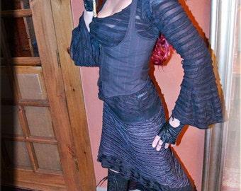 SALE - Under Bust Vest - Steampunk Vest - Burning Man - Dark Grey Vest - Festival Clothing - Bohemian Vest - Gypsy Fairy - Size Small