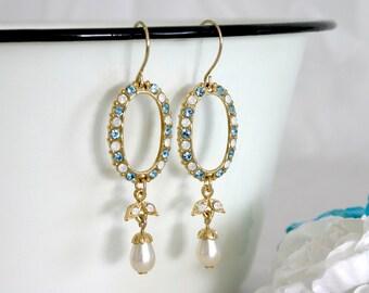 Blue elegant earrings, Blue bridesmaid earrings, Blue chic earrings, Blue party earrings, Blue bridal earrings