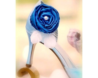 Shoe Clips Royal Blue / Cobalt & Feathers. Handmade Photo Prop Pins, Birthday Statement Couture Gift, Ivory White Pearl, More Champagne Aqua