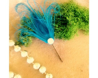 Wedding Turquoise Peacock Bobby Pin. Hair Clip / Comb. Whimsical Blue Feather, Pearl Rhinestone Gem. Fashion Accessory. Girly Teen Statement