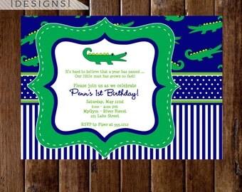 Preppy Alligator - Boy Version - Birthday Party Invitation  - PRINTABLE INVITATION DESIGN