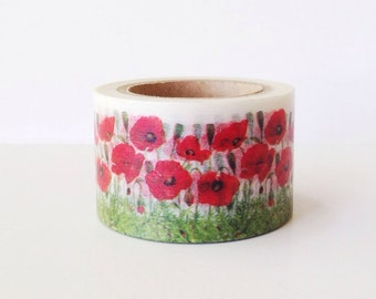 Wide Washi Tape 30mm Red POPPY Washi Tape Floral Flowers