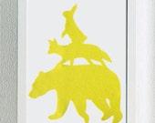 Yellow Stacking Animals Nursery Wall Art. Woodland Nursery. Hand Cut Bear Fox Rabbit. Children Room Wall Art Wall Decor