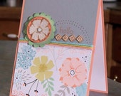 "Handmade Hello Note Card - 4.25"" x 5.5"" - Stampin Up A Dozen Thoughts - Cork Flower & Embellishments"