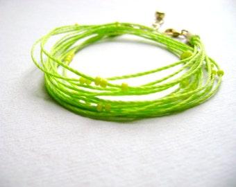 Wrap bracelet lemon lime fun - Citrus - minimalist lemon lime double wrap bracelet