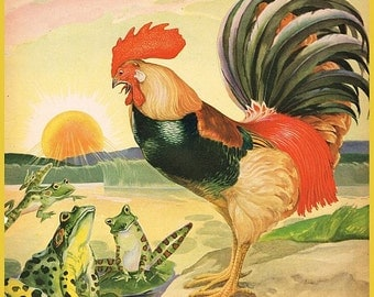 vintage illustration farm animal rooster and frogs DIGITAL DOWNLOAD