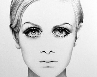 Twiggy Pencil Drawing Fine Art Portrait Signed Print