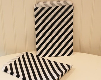 Paper Bags, 24 Black Candy Stripe Favor Bags, Candy Bag, Wedding Favors, Black Paper Bag, Bakery, Halloween Party, Cookie Bag, Baking Supply