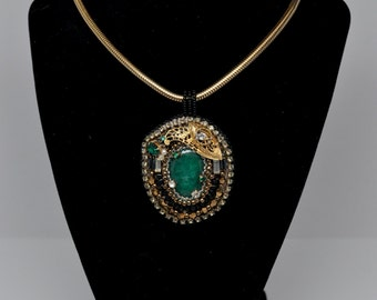 """Bead Embroidered Pendant with Malachite Cabochon and Vintage Czech Rhinestones--""""Green with Gatsby"""""""