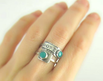 Hope turquoise sterling silver ring - turquoise ring - hope ring - stamped sterling silver ring - boho ring - personalised jewelry